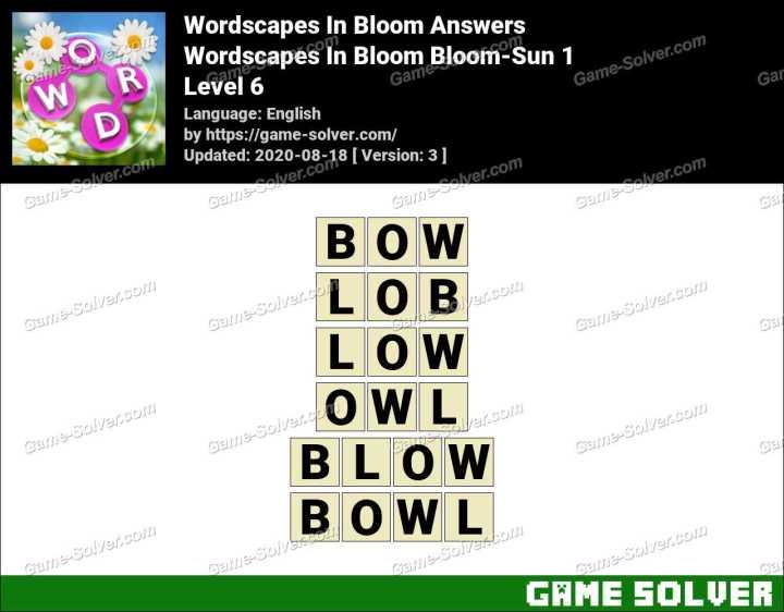 Wordscapes In Bloom Pollen-Lemon 6 Answers