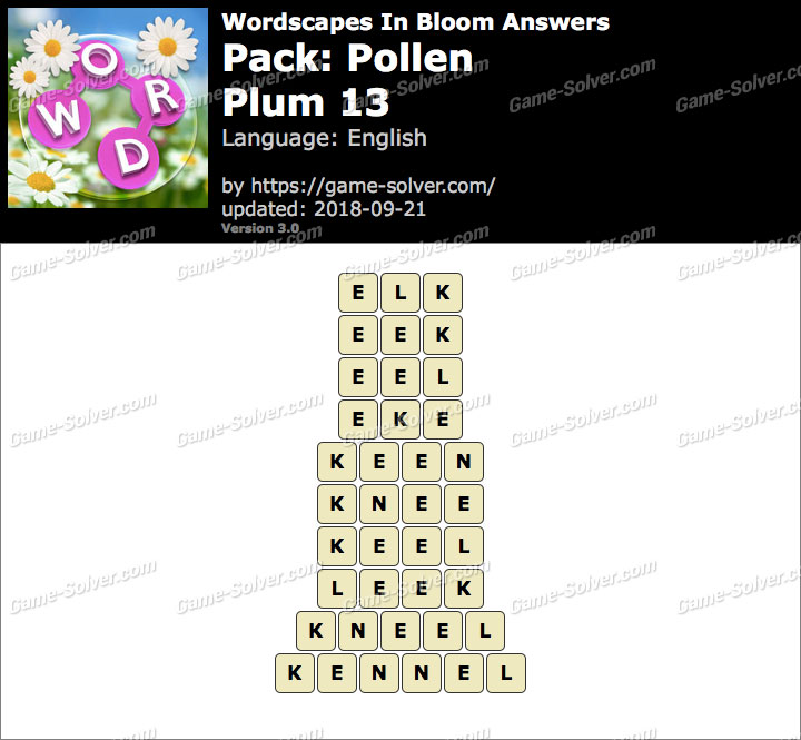 Wordscapes In Bloom Pollen-Plum 13 Answers
