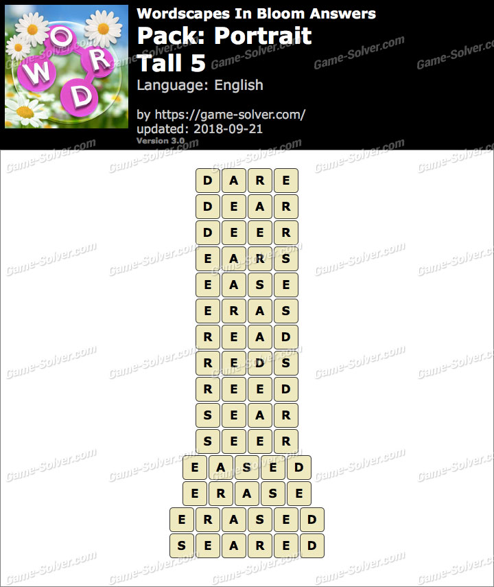 Wordscapes In Bloom Portrait-Tall 5 Answers