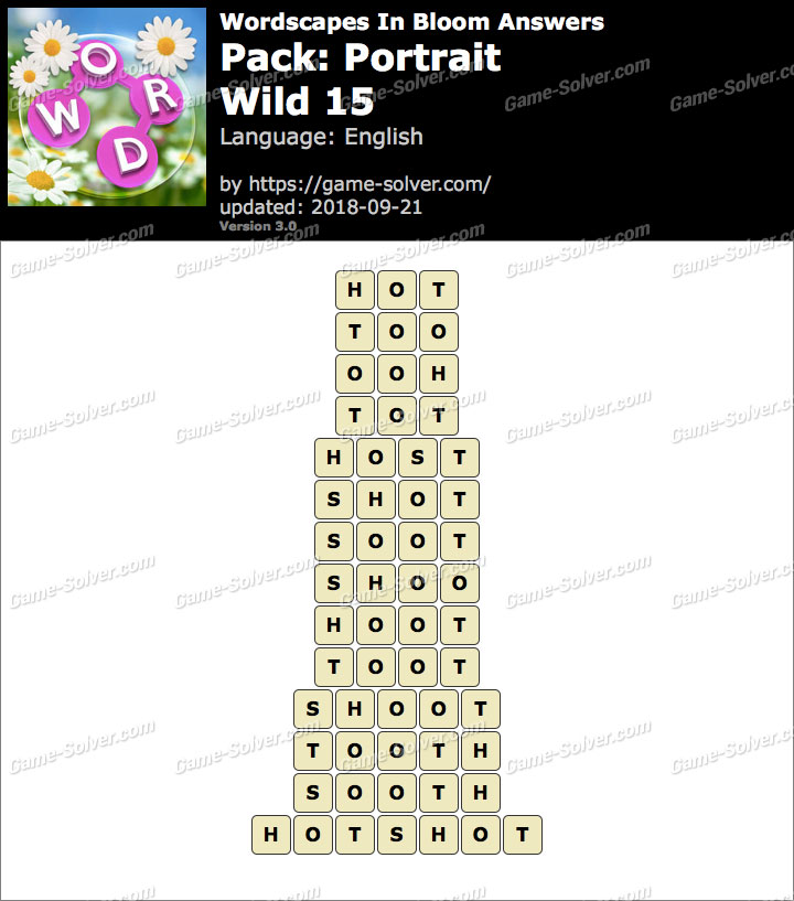 Wordscapes In Bloom Portrait-Wild 15 Answers