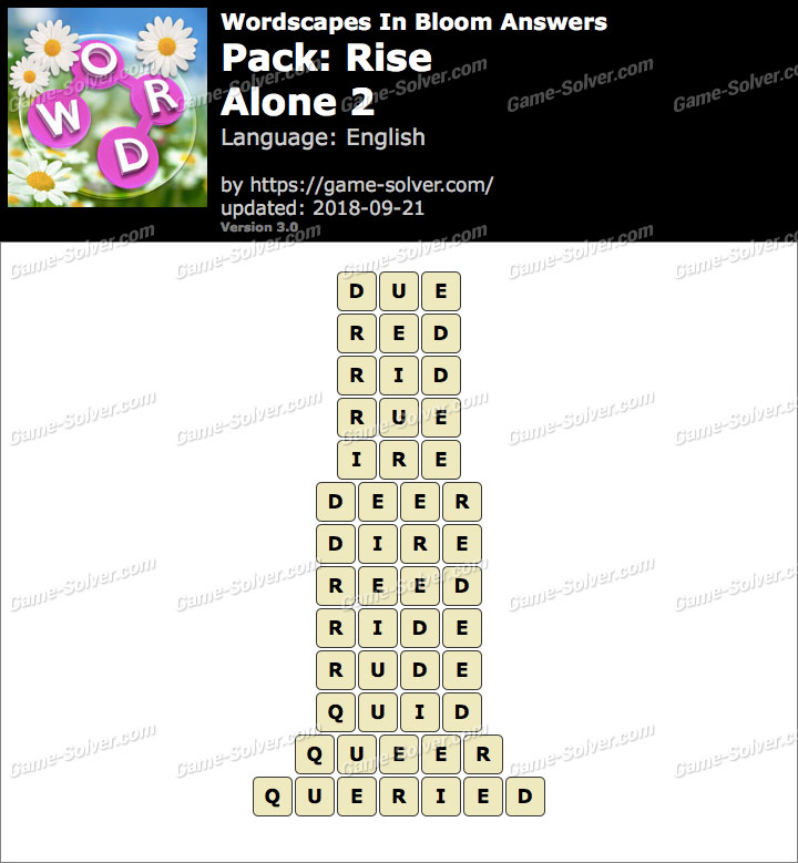 Wordscapes In Bloom Rise-Alone 2 Answers