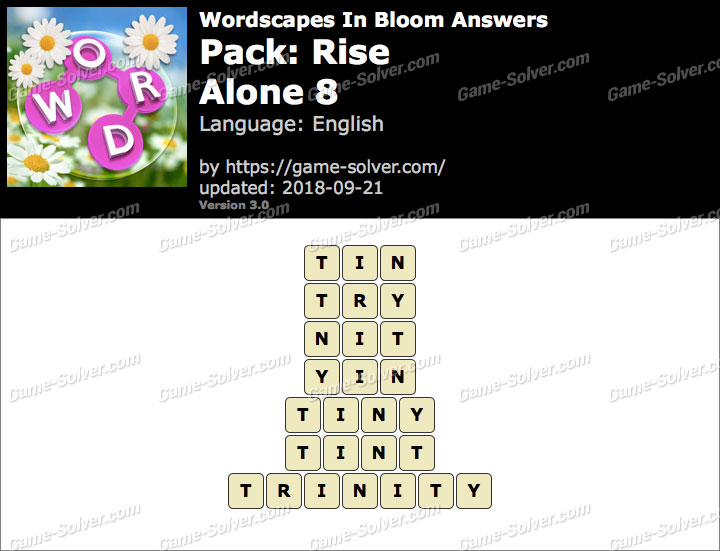 Wordscapes In Bloom Rise-Alone 8 Answers