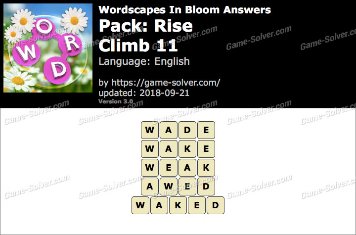 Wordscapes In Bloom Rise-Climb 11 Answers