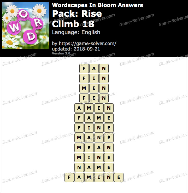 Wordscapes In Bloom Rise-Climb 18 Answers