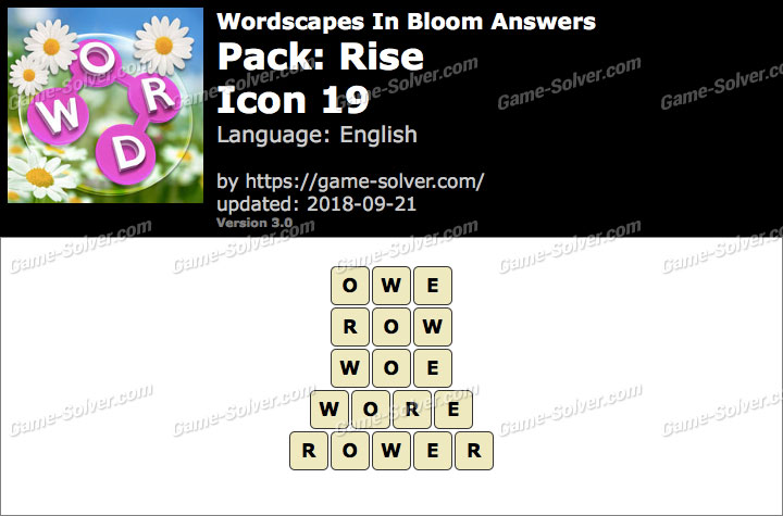 Wordscapes In Bloom Rise-Icon 19 Answers