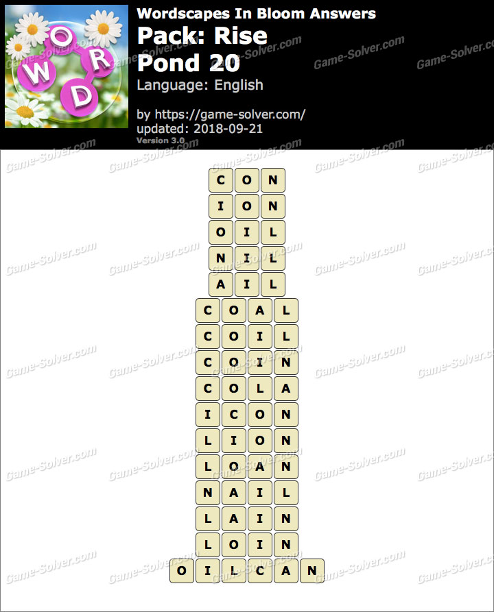 Wordscapes In Bloom Rise-Pond 20 Answers
