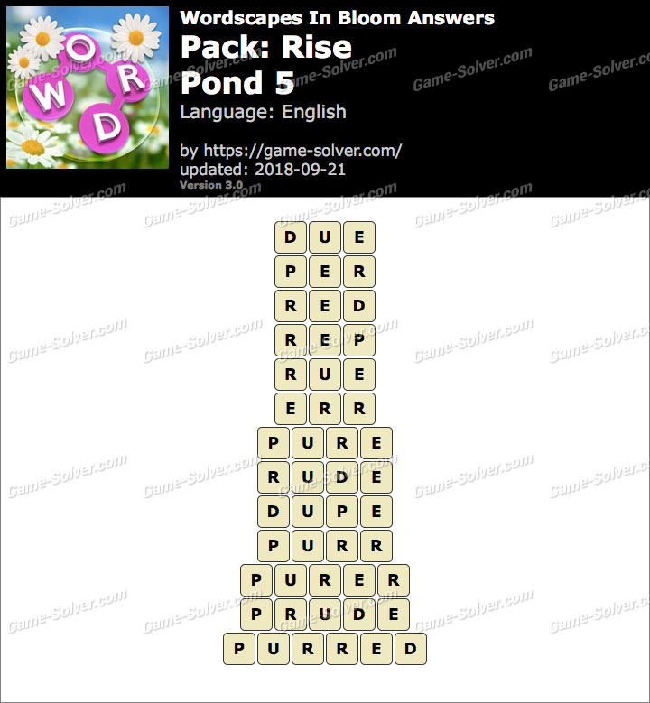 Wordscapes In Bloom Rise-Pond 5 Answers