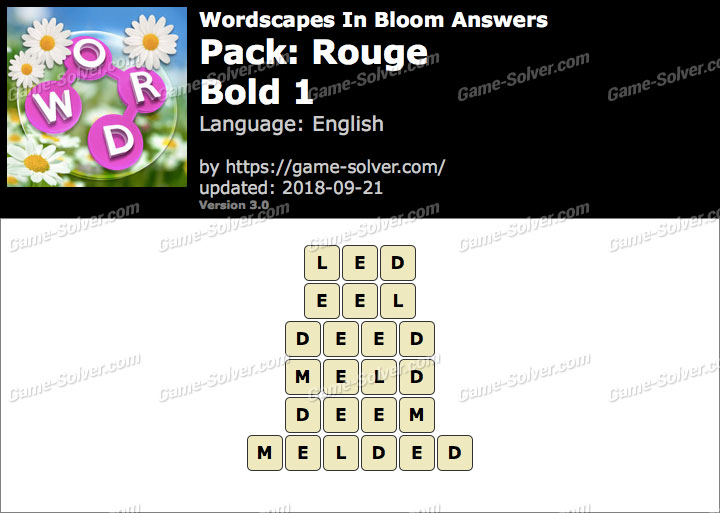 Wordscapes In Bloom Rouge-Bold 1 Answers