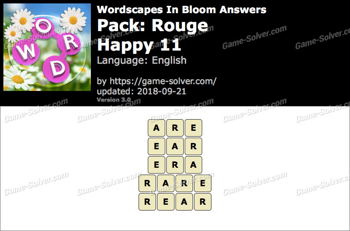 Wordscapes In Bloom Rouge-Happy 11 Answers