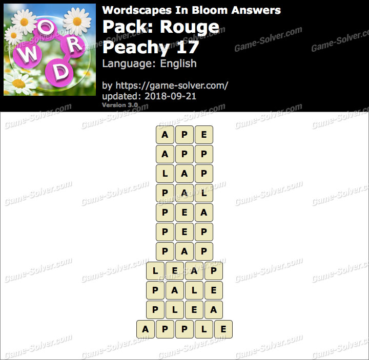 Wordscapes In Bloom Rouge-Peachy 17 Answers