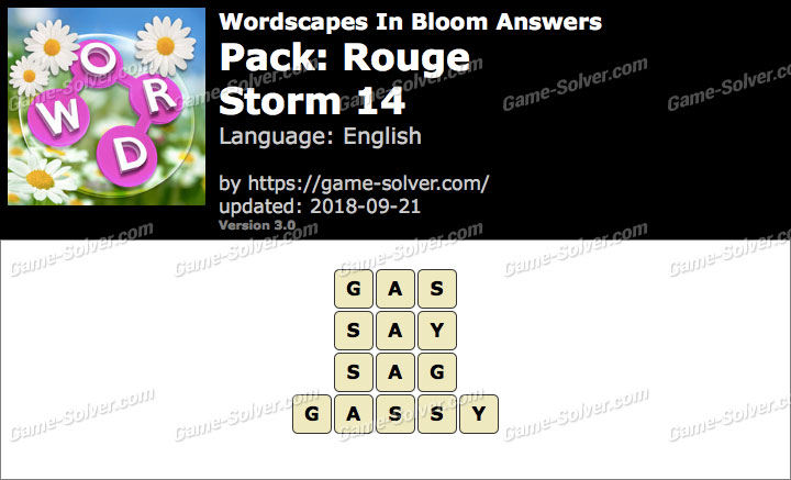 Wordscapes In Bloom Rouge-Storm 14 Answers