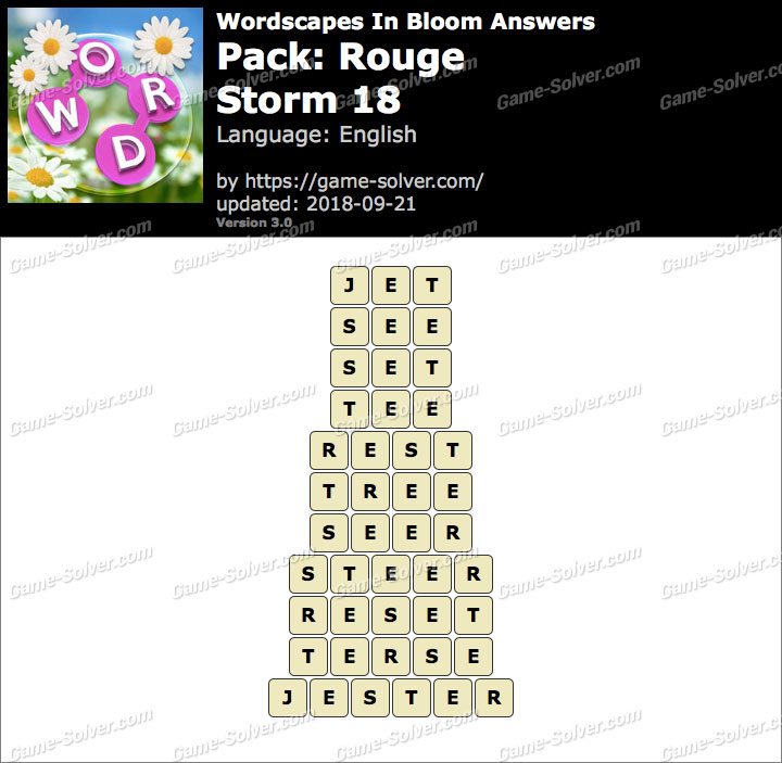 Wordscapes In Bloom Rouge-Storm 18 Answers