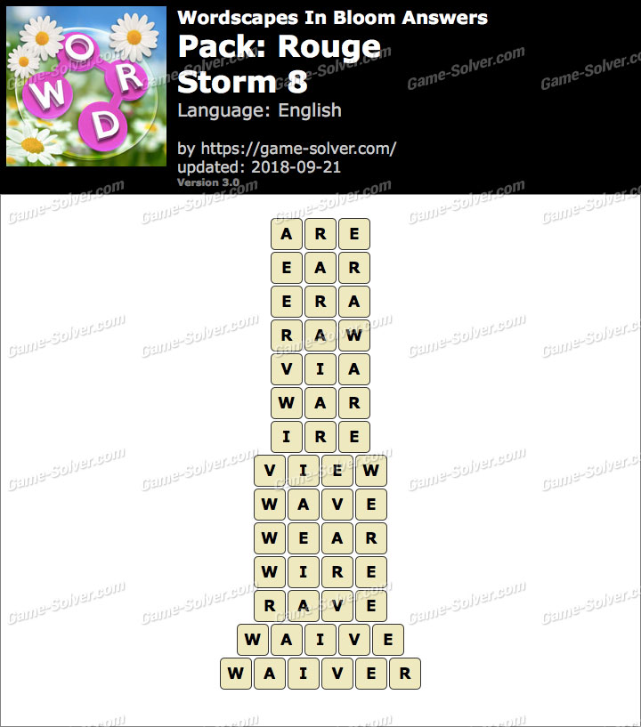 Wordscapes In Bloom Rouge-Storm 8 Answers
