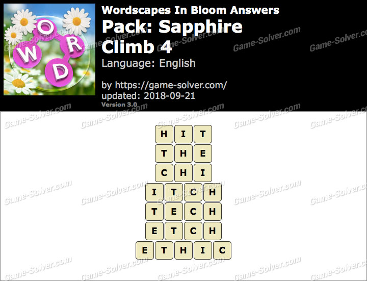 Wordscapes In Bloom Sapphire-Climb 4 Answers