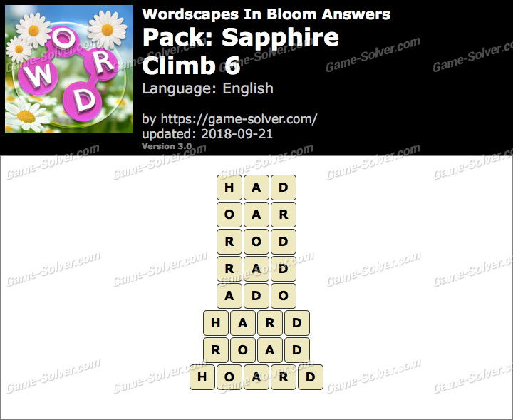 Wordscapes In Bloom Sapphire-Climb 6 Answers