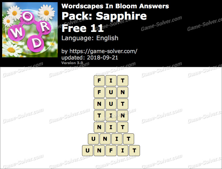 Wordscapes In Bloom Sapphire-Free 11 Answers