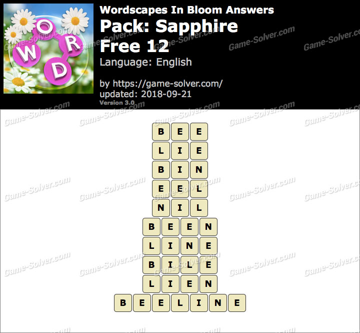 Wordscapes In Bloom Sapphire-Free 12 Answers