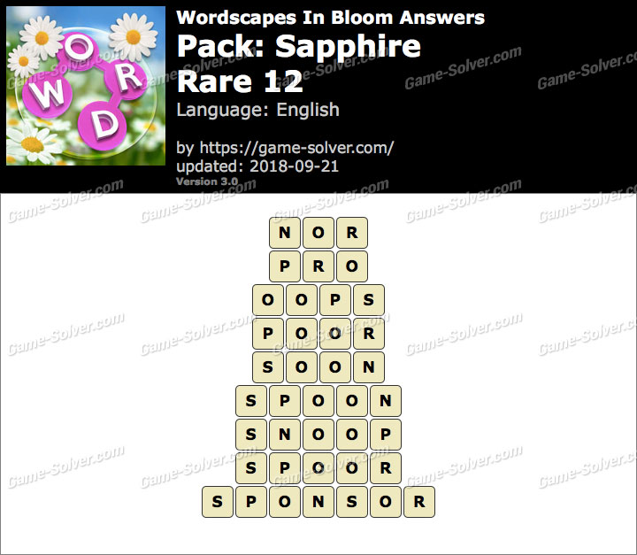 Wordscapes In Bloom Sapphire-Rare 12 Answers