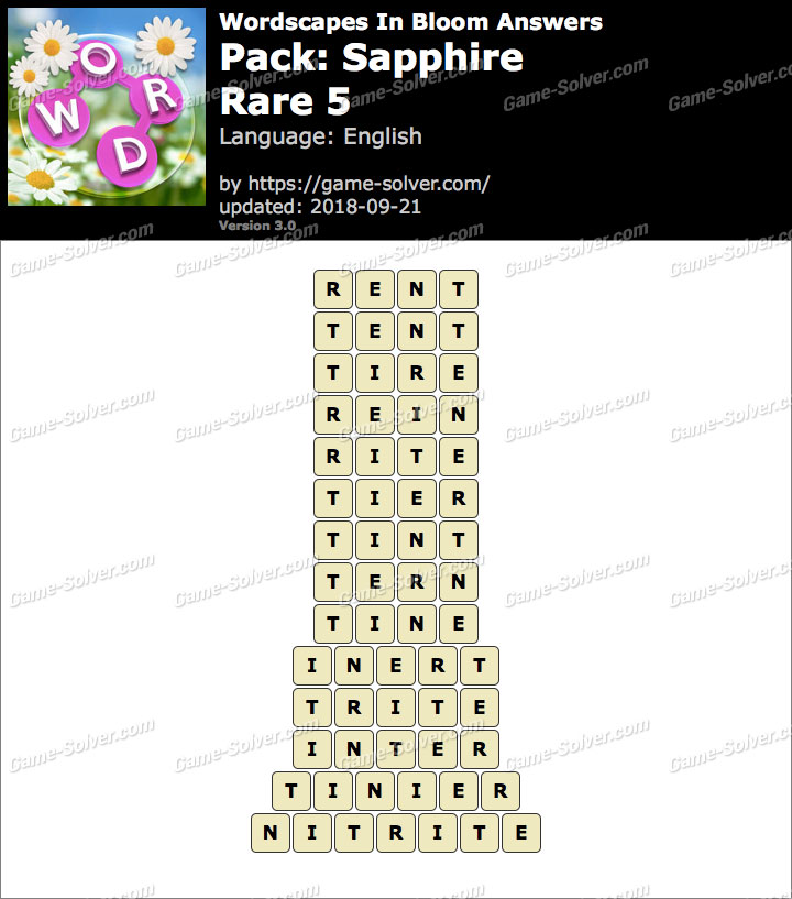 Wordscapes In Bloom Sapphire-Rare 5 Answers