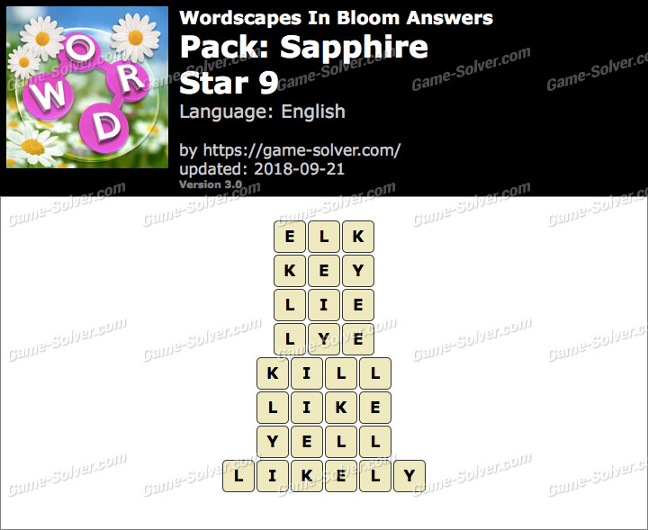 Wordscapes In Bloom Sapphire-Star 9 Answers