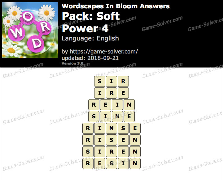 Wordscapes In Bloom Soft-Power 4 Answers