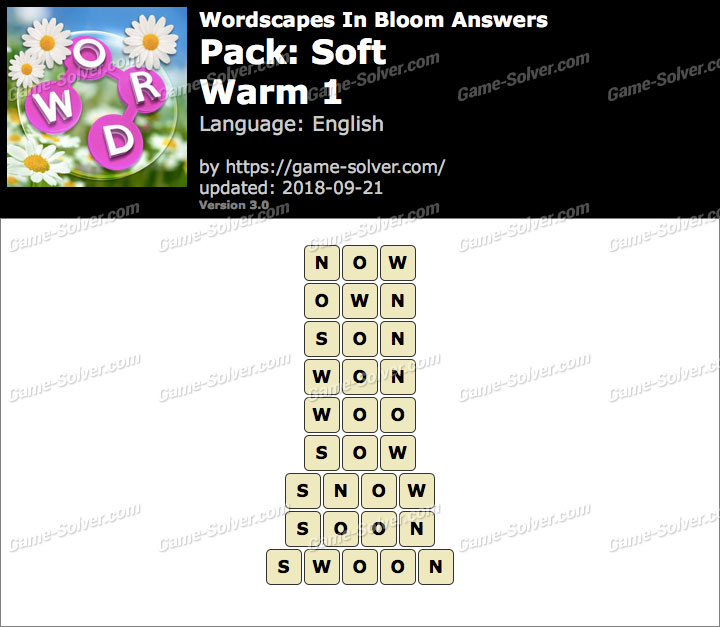 Wordscapes In Bloom Soft-Warm 1 Answers