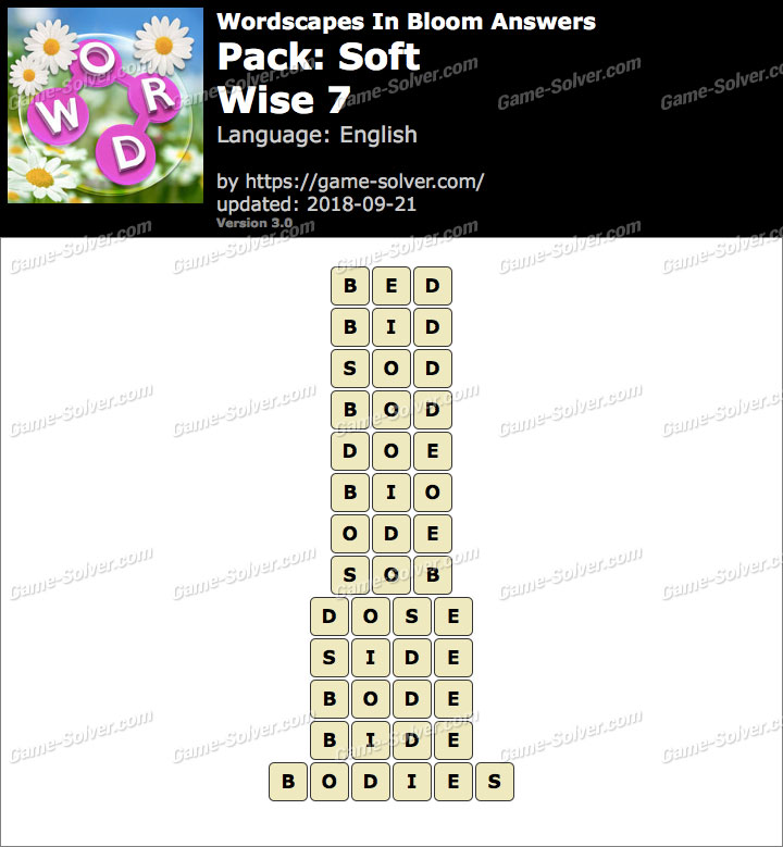 Wordscapes In Bloom Soft-Wise 7 Answers