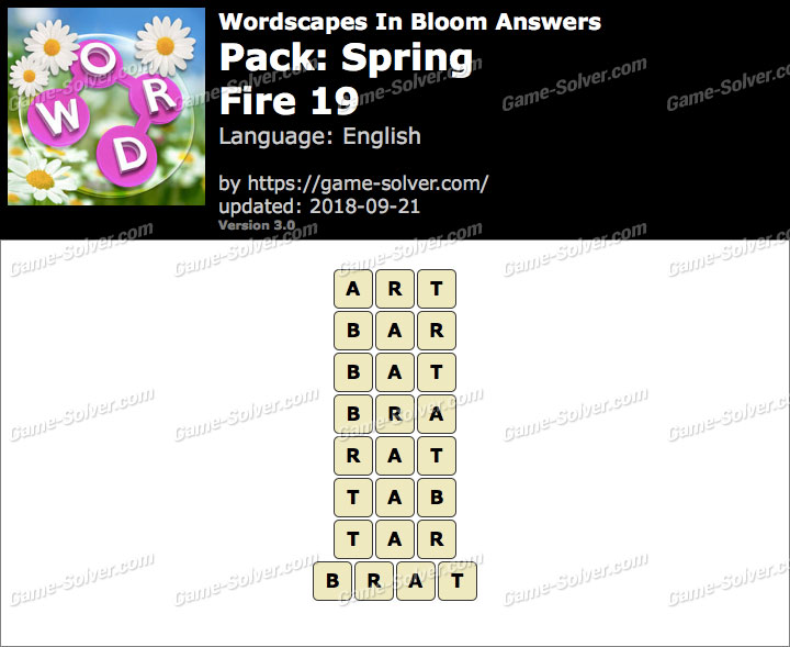 Wordscapes In Bloom Spring-Fire 19 Answers