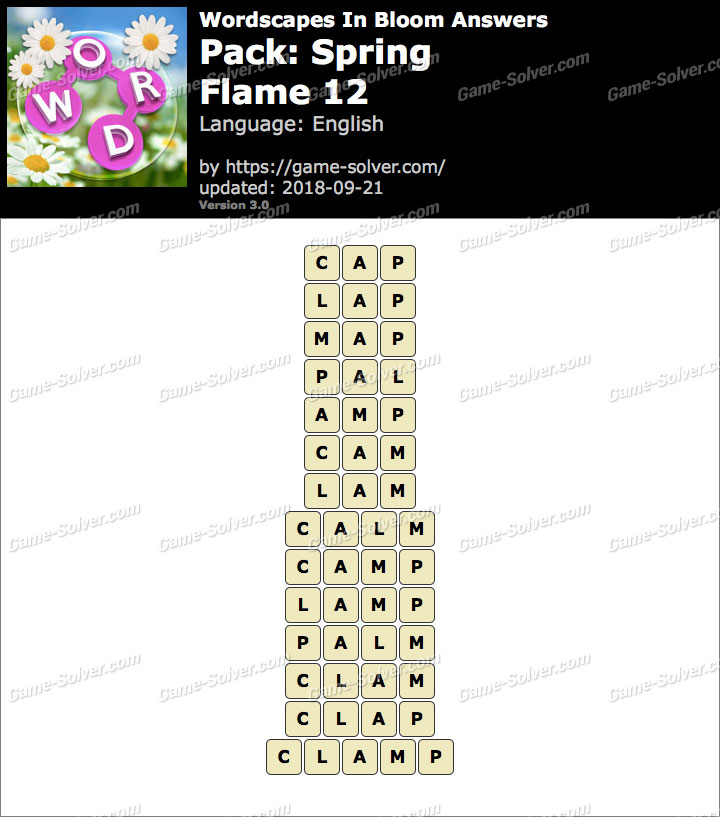 Wordscapes In Bloom Spring-Flame 12 Answers