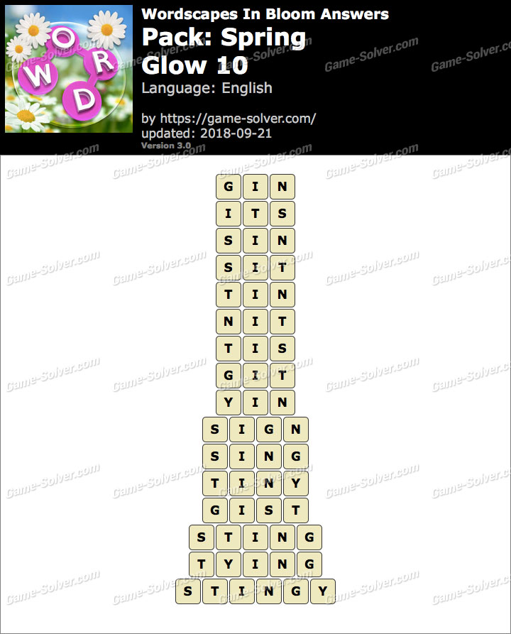 Wordscapes In Bloom Spring-Glow 10 Answers