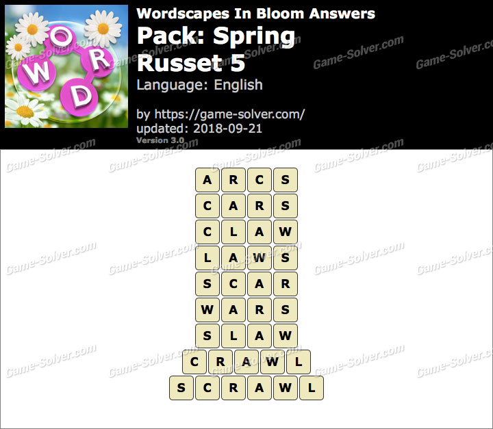 Wordscapes In Bloom Spring-Russet 5 Answers
