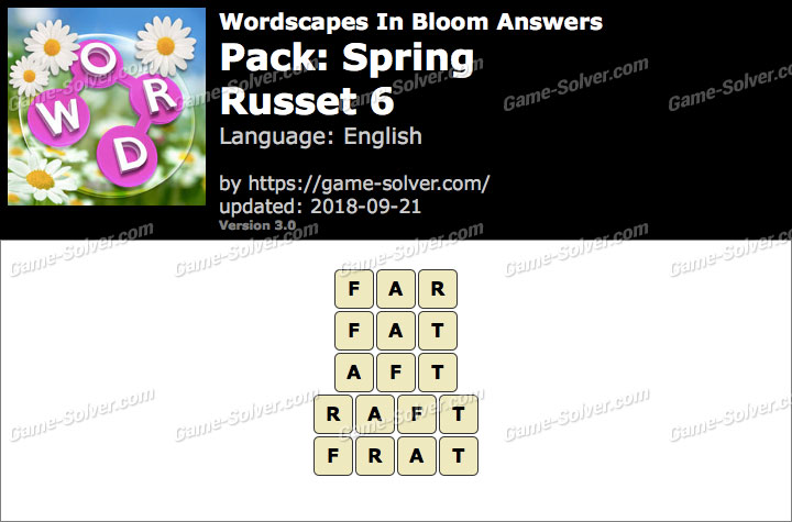 Wordscapes In Bloom Spring-Russet 6 Answers