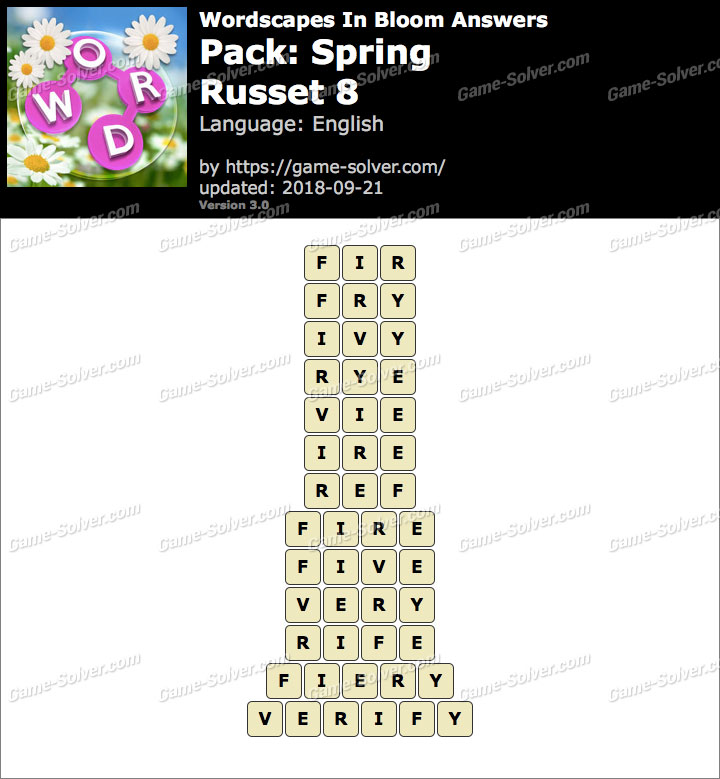 Wordscapes In Bloom Spring-Russet 8 Answers