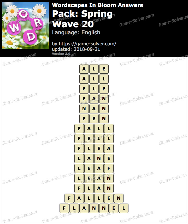 Wordscapes In Bloom Spring-Wave 20 Answers