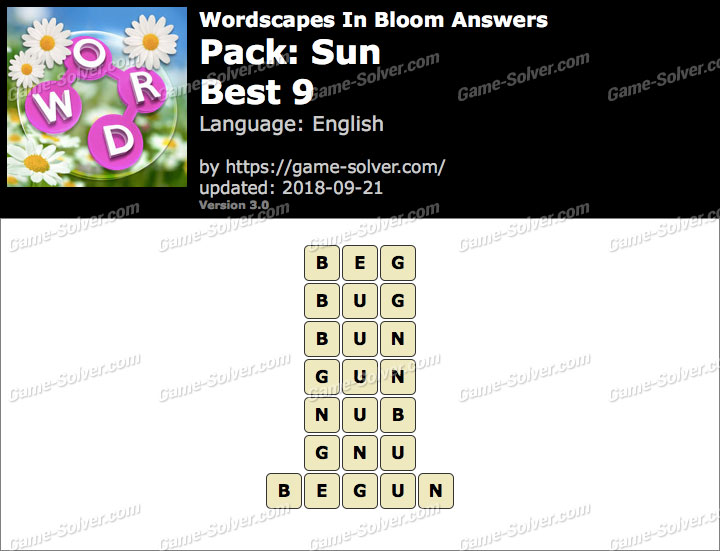 Wordscapes In Bloom Sun-Best 9 Answers