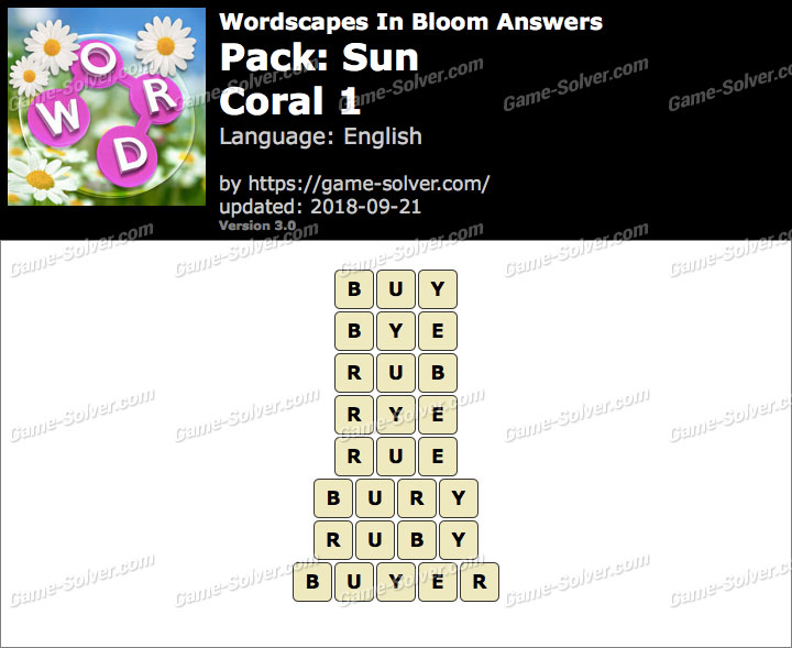 Wordscapes In Bloom Sun-Coral 1 Answers