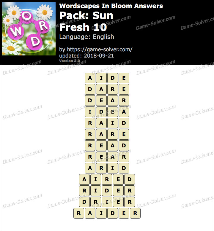 Wordscapes In Bloom Sun-Fresh 10 Answers