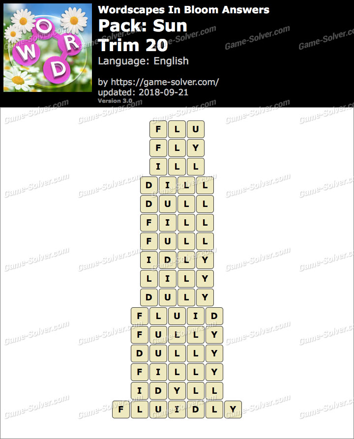 Wordscapes In Bloom Sun-Trim 20 Answers