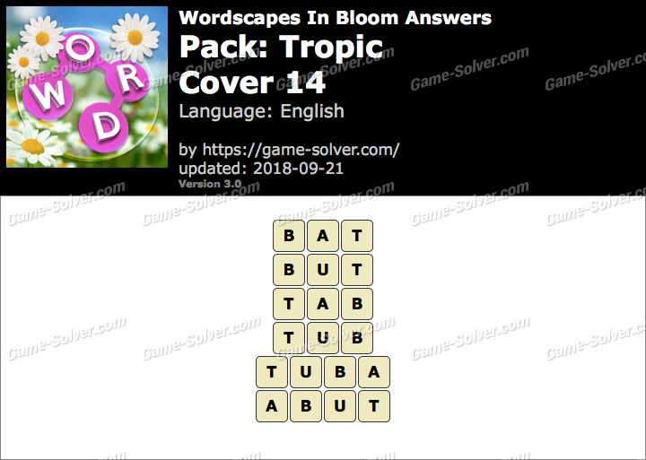 Wordscapes In Bloom Tropic-Cover 14 Answers