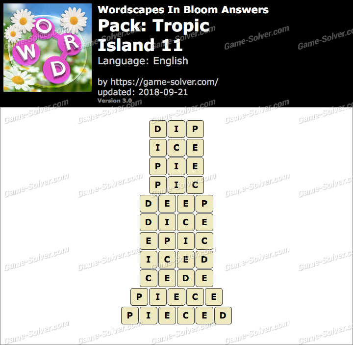 Wordscapes In Bloom Tropic-Island 11 Answers