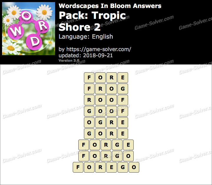 Wordscapes In Bloom Tropic-Shore 2 Answers