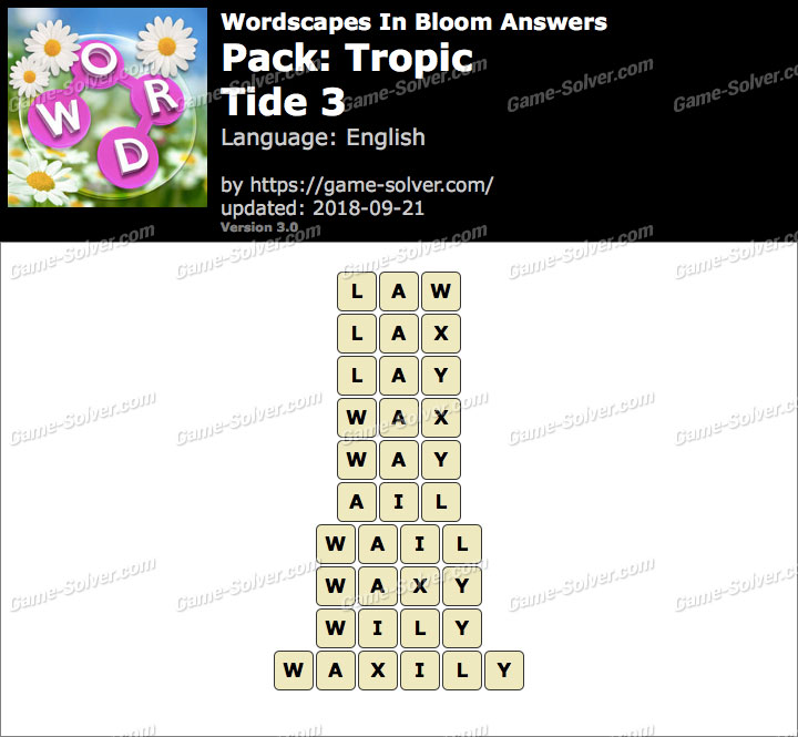 Wordscapes In Bloom Tropic-Tide 3 Answers