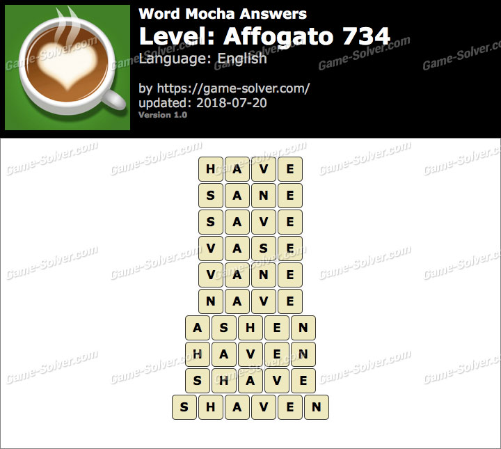 Word Mocha Affogato 734 Answers