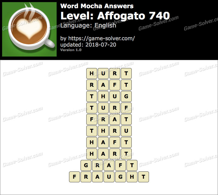 Word Mocha Affogato 740 Answers