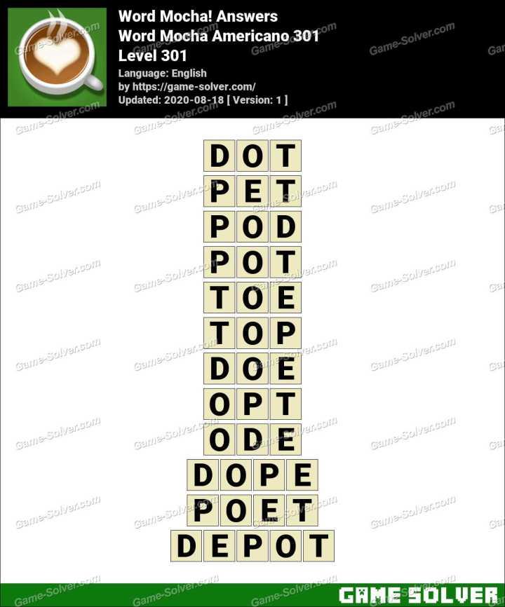 Word Mocha Americano 301 Answers