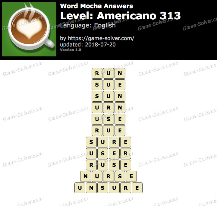Word Mocha Americano 313 Answers