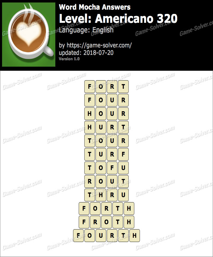 Word Mocha Americano 320 Answers
