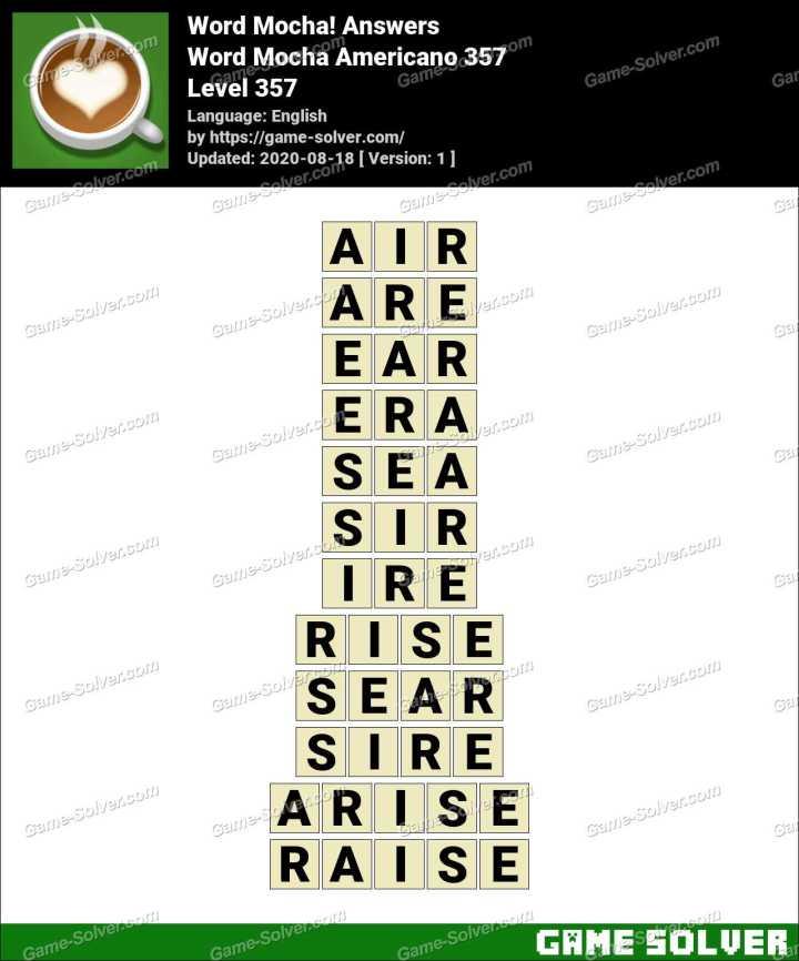 Word Mocha Americano 357 Answers