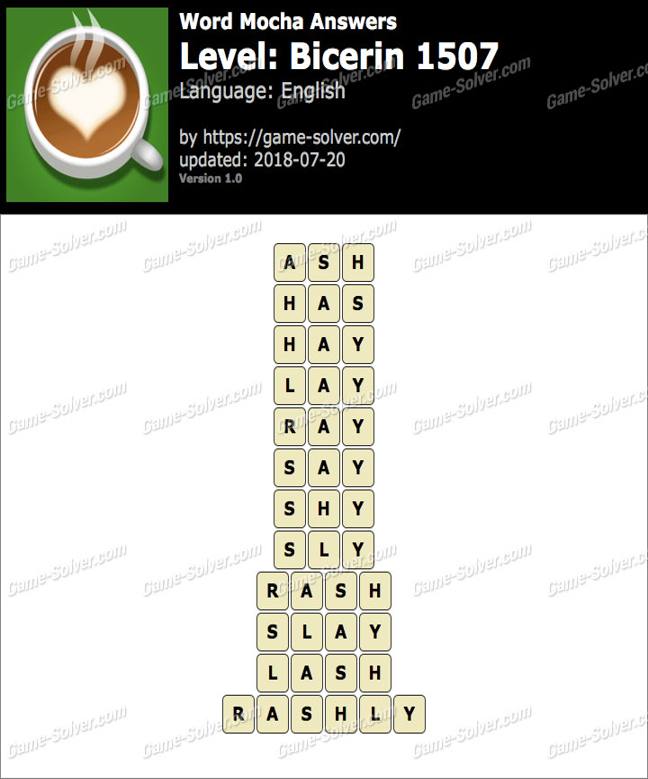 Word Mocha Bicerin 1507 Answers