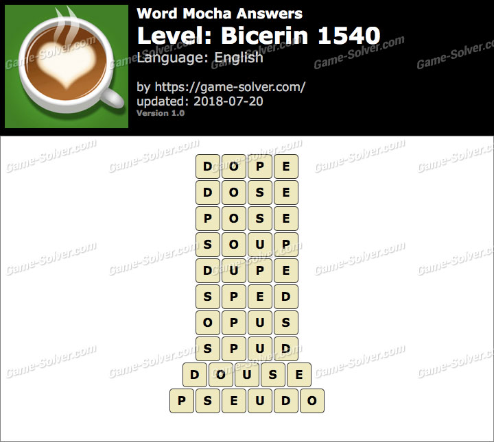 Word Mocha Bicerin 1540 Answers